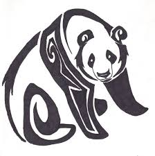 collection of 25 tribal panda on tree branch stencil