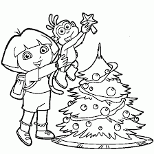 dora explorer christmas tree coloring pages christmas