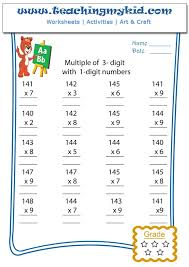 3 digit by 1 digit multiplication worksheets multiply of 3 digits with 1 digit numbers archives
