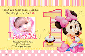 baby minnie 1st birthday invitations drevio invitations design