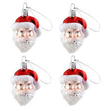 shop living 4 pack white santa ornament at lowes