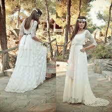 boho bohemian garden lace wedding dresses with sheer 3 4 long