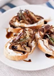 crostini with roasted shiitake mushrooms and ricotta a