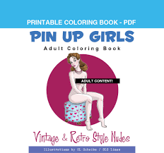 coloring book pdf pin up girls retro style coloring