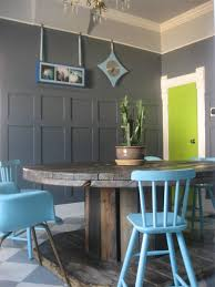 cool dining room paint scheme two tone gray paint chartreuse