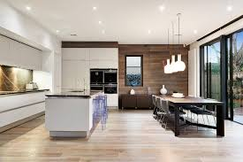 contemporary kitchen and open plan living room with garden aspect