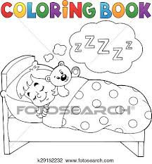 clipart coloring book sleeping child theme 1 k29152232