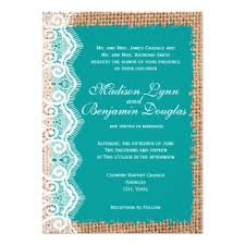 teal wedding invitations burlap and lace wedding invitations rustic country wedding