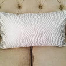 ashley meier fine linens silver metallic printed lumbar pillow