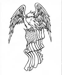 Eagle And Flag Tattoos Angry Black Line Eagle Keeping Uncolored American Flag Tattoo