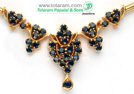 sapphire necklace gold chain images 22k gold blue saphire necklace earrings set jpg