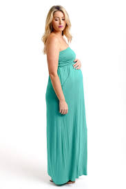 emerald green strapless maternity maxi dress