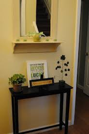 Foyer Table Decor Ideas by Furniture Rustic Honey Wooden Entryway Table With Undershelf For