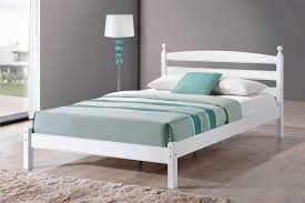 Double Bed Furniture Wood Bedroom Furniture Slatted Wood Headboard White Wooden Double Bed