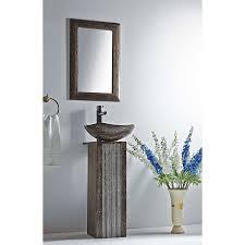 Pedestal Sink Shop Mtd Vanities Ares 35 9 In H Dark Emperador Stone Pedestal