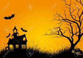 free halloween orange background pumpkin halloween night background with tree pumpkin bat and house royalty