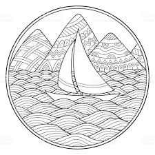 doodle pattern in black and white landscape pattern for coloring