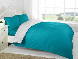 Two Tone Blue Bedroom Teal White Plain Colour Reversible Two Tone Complete Bed Set