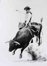 bull riding drawings bull rider