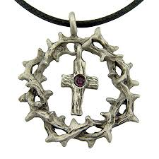 crown of thorns necklace of thorns cross necklace pewter