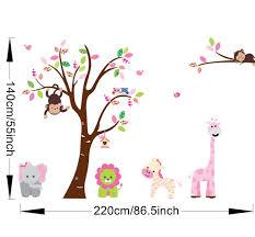 nursery pink colourful animals large uk wall sticker