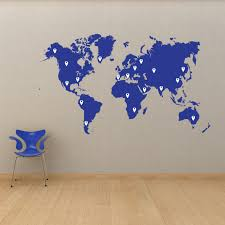 world map vinyl wall decal world map with pins world map pin drops decal 873