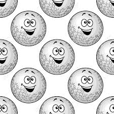 seamless background pattern of golf balls with big happy