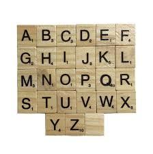 100 pcs wooden alphabet scrabble tiles black letters numbers