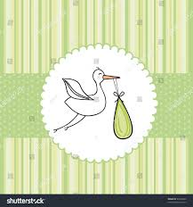 green baby shower card stork background stock vector 99144404