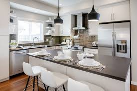 Stained Glass Backsplash by Modern Kitchen Bar Table Beige Solid Wood Cabinet Shelves Grey