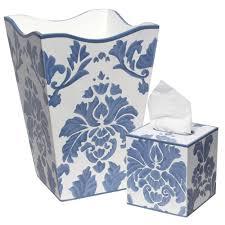 bathroom trash can blue bathroom design ideas damask bathroom