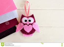 cute felt owl toy simple felt sewing crafts for kids stock photo