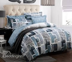 new arrival high quality 100 cotton newspaper print 4 piece bedding sets duvet cover