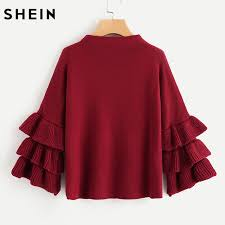 maroon sweaters shop shein pearl beading tiered ruffle sleeve jumper