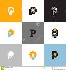 set of letter p logo templates with drop and light bulb stock