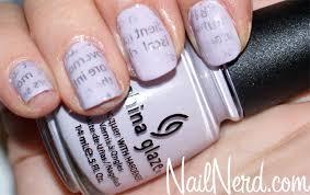 nail nerd nail art for nerds lavender newsprint nails
