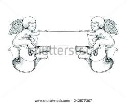 little angel holding banner stock vector 242577307 shutterstock