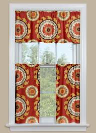 Kitchen Window Curtains by Window Curtains With Large Medallion Design In Rust