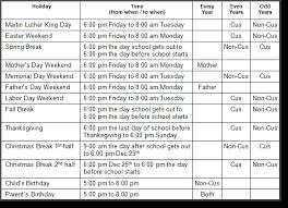 visitation schedule template