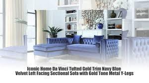 Gold Sectional Sofa Iconic Home Da Vinci Tufted Gold Trim Navy Blue Velvet Left Facing