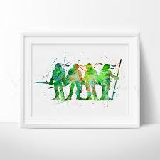 Ninja Turtle Wall Decor Teenage Mutant Ninja Turtles Watercolor Nursery Art Print Wall