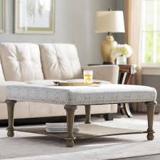 darby home co refrenshire square exposed wood cocktail ottoman
