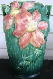 Roseville Vases Ebay Roseville Pottery Clematis Vase Handles Shape 105 7 Usa Green