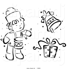 vector clipart of a cartoon christmas drummer bell and gift