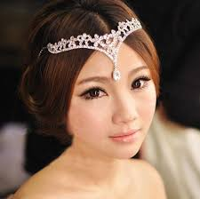 headpieces online cheap korean style women austria v shape water drop crown