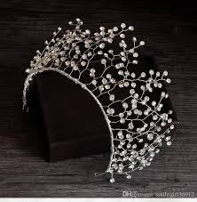 silver headband bridal handmade crown tiara headband brand new rhinestone silver