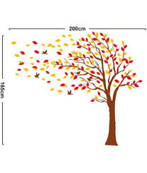 stickerskart wall stickers brown tree with falling leaves 7172