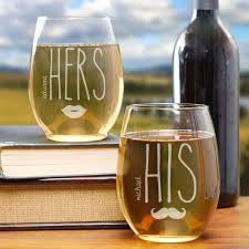 his hers wine glasses engraved his hers wine glasses giftsforyounow