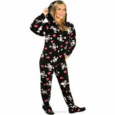 skulls hooded fleece footed pajamas with drop seat