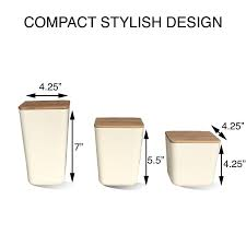 bamboo fiber kitchen canister storage container 3 piece set with